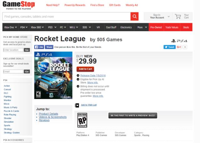 Screenshot of Rocket League's availability on Gamestop